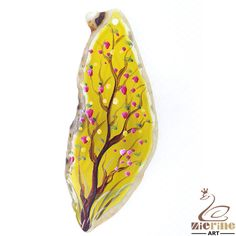 handmade art Jewelry Pendant Hand Painted tree  stone necklace ZL804062 #ZL #Pendant