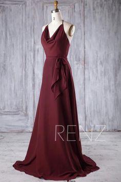 22f8c4f4021 Bridesmaid Dress Maroon Chiffon Dress Wedding Dress Spaghetti