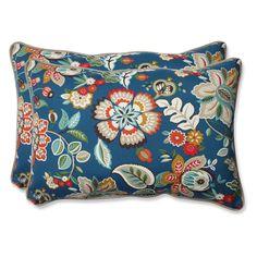 Pillow Perfect Telfair Peacock Over-Sized Rectangular Outdoor Throw Pillow - Set of 2 - 573359