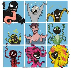 🍂THE VENOM BUNCH🍂 . A brady bunch parody thing. This to me had to happen due to the fact that the parenthood comics wer getting pretty popular and this idea creeped it's way into my head and so it is here before you 😂😂😂😂 It was a quick work but in. Venom Comics, Marvel Venom, Marvel Dc Comics, Marvel Avengers, Marvel Funny, Marvel Memes, Funny Comics, Spideypool, Venom Art