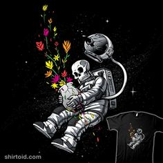 End of Humanity | Shirtoid #astronaut #flowers #nature #plants #skeleton #skull #space #spaceman #tobefonseca #tobiasfonseca