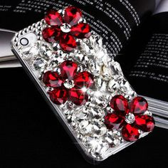 Handmade Bling sparkle diamond crystal pearl Rhinestone iPhone 6 6 plus case iPhone 5 5s 5c 4s case cover red flowers