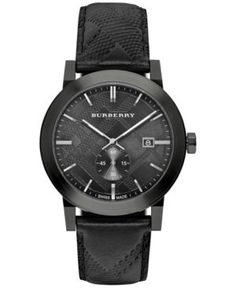 Burberry Women's Swiss Chronograph The Classic Round Black Check-Embossed Leather Strap Watch 42mm BU9906 - Black
