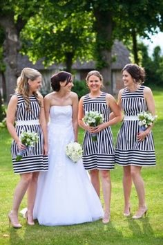 striped bridesmaids dresses
