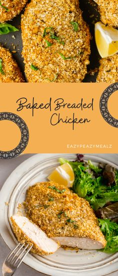 Breaded Chicken Tenders Baked, Healthy Breaded Chicken, Breaded Chicken Recipes, Easy Baked Chicken, Easy Chicken Recipes, Bread Crumb Chicken Breast, Baked Chicken Breast, Chicken Coating Recipe, Dinner Dishes