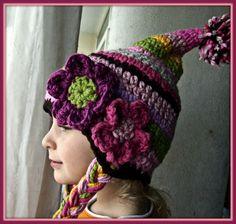 Kids hat Crochet Hat for Girls with Crochet Flowers and Pompom. $22.00, via Etsy.