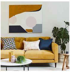Blush Living Room, Navy Living Rooms, Living Room Modern, Living Room Sofa, Home Living Room, Living Room Designs, Living Room Artwork, Blush Bedroom, Cozy Living