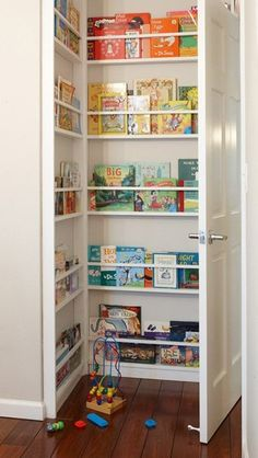 Kids bedroom – use that behind the door space! In my craft room I built something like this behind the door to hold my rubber stamps and then hung a shoe holder with pockets on the back of the door to hold my punches, clearing up room on my work table.  | followpics.co