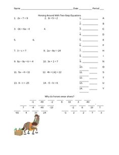 Printables One And Two Step Equations Worksheet student the ojays and worksheets on pinterest
