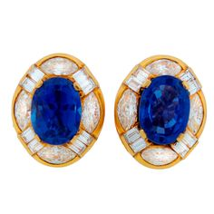 BULGARI Sapphire Diamond & Yellow Gold Earrings   From a unique collection of vintage clip-on earrings at https://www.1stdibs.com/jewelry/earrings/clip-on-earrings/