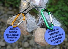 Boulder favor bags (actually chocolate) for rock climbing (or any kind of) party.