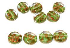 L'Or vert Lampwork Verre tchèque à la Main de Perles de Set en Or Massif 24 CARATS Rondelle Comprimé : Perles de Bohème par czechbeadsexclusive