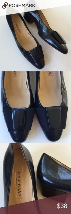 "Like new ""Vintage"" Cole Haan leather shoes Excellent condition; They don't come much more classic than these! Dark navy leather with grosgrain ribbon detailing and 1"" heel. The craftsmanship on these shoes is perfection! Smoke-free/pet-free home. Cole Haan Shoes"