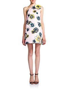 MSGM - Printed One-Shoulder Dress