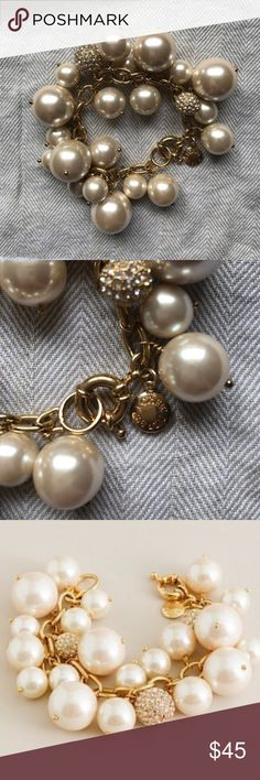J Crew Pearl and Pave Champagne Bracelet Champagne-colored pearl and pave bead bracelet. Never worn. J. Crew Jewelry Bracelets