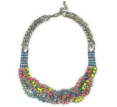 Rainbow Thread Wrapped Bib Necklace