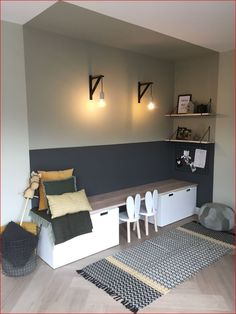 60 Fun Kids Playroom Ideas to Inspire You - Speelhoek woonkamer - Trendy Bedroom, Modern Bedroom, Bedroom Decor, Bedroom Curtains, Diy Zimmer, Rustic Home Design, Bathroom Kids, Bedroom Apartment, Interior Design Living Room