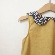 Girls Mustard Dress Toddler Dress Peter Pan Collar Girls