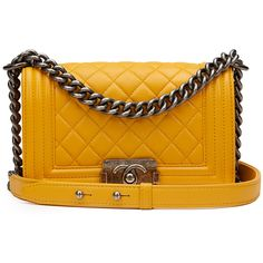 Pre-Owned Chanel Mustard Quilted Lambskin Small Le Boy ($3,929) ❤ liked on Polyvore featuring bags, handbags, mustard, yellow crossbody purse, quilted cross body purse, yellow purse, mustard yellow purse and multicolor handbags