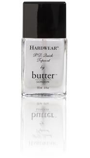 butterLONDON Hardwear P.D. Quick Topcoat. Protects the layers of color beneath it, gives a super-shiny finish, and dries fast (P.D. Quick stands for 'Pretty Darn Quick'!)