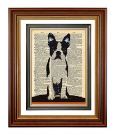 No. 198 Mod Boston Puppy Original Print on an Antique Upcycled Bookpage $7.00