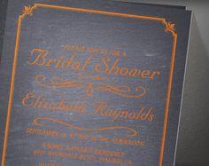 Orange Chalkboard Bridal Shower Invitation