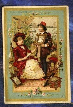 chromo-AU-BON-MARCHE-glace-Venise-miroir-mirror-Minot-Venezia-Artisanat-Old-Card