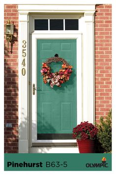 Front Door Paint Color Inspiration: Add curb appeal by painting front doors and shutters. They don't have to be the same color. Choose colors that complement the style of the home and the rest of the home's exterior elements. Try Pinehurst green for a pop of a color on the front door to help to give your home a warm, welcoming feeling.