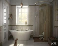 "Ванная комната ""Шебби-шик"": интерьер, зd визуализация, квартира, дом, санузел, ванная, туалет, французский, прованс, 10 - 20 м2, интерьер #interiordesign #3dvisualization #apartment #house #wc #bathroom #toilet #french #provence #10_20m2 #interior arXip.com"