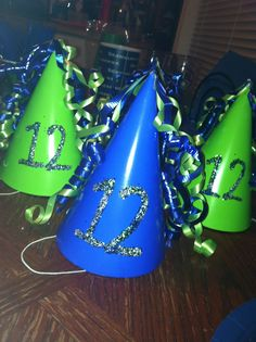 DIY Seahawk Party Hats that I made for the kiddos! Half Birthday, 12th Birthday, 6th Birthday Parties, Birthday Celebration, Boy Birthday, Football Birthday, Sports Birthday, Seahawks Football, Seattle Seahawks