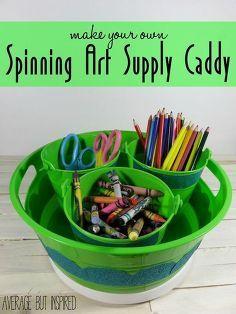 diy spinning supply caddy, crafts, organizing, repurposing upcycling