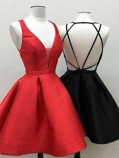 Customized A-line Homecoming Prom Dresses Short Black Dresses With Criss-Cross Criss Cross Mini Cute Prom Dresses