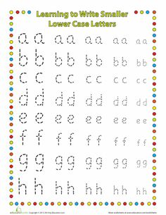 Worksheets: Small Letters: Lower Case