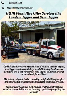 D&M tandem tippers are all fitted with reverse cameras, reverse beepers, swinging tailgates, sealed tailgates, mudlocks, steel bodies, UHF radio, flashing light, air-conditioned cabin, and are paver compatible. Hiring Now, Risk Management, Wet And Dry, Tandem, Get The Job, Bodies, Cameras, Challenges, Construction