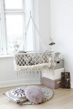 Hanging bassinet for baby's room.