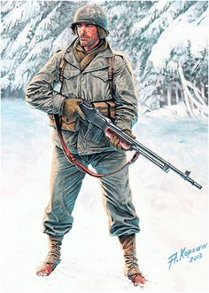 S soldier with browning rifle (BAR) Military Art, Military History, Foto Fantasy, Ddr Museum, Ww2 Uniforms, Military Uniforms, Military Drawings, Army Infantry, Korean War