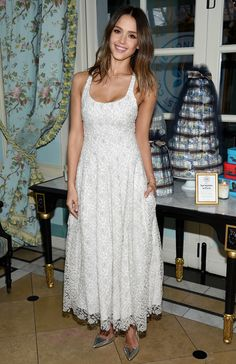 Jessica Alba was gorgeous in a white Brock dress at Honest Company's Springtime in Paris event in N.Y.C.