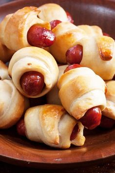 Mini Pigs in a Blanket Recipe including course(s): Appetizer; and ingredients: american cheese, crescent roll dough, sausageRecipe including course(s): Appetizer; and ingredients: american cheese, crescent roll dough, sausage Snacks Für Party, Appetizers For Party, Appetizer Recipes, Snack Recipes, Cooking Recipes, Sausage Appetizers, Avacado Appetizers, Prociutto Appetizers, Elegant Appetizers