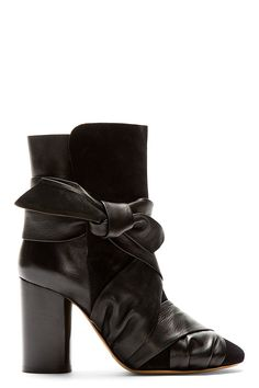 Isabel Marant Black Suede And Leather Wrapped Anzel Ankle Boots on Vein - getVein.com