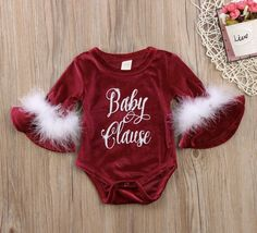 Baby Girl Newborn Baby Clause Romper Santa Baby Jumpsuit Onesie Boutique Outfit Clothes Set Christmas Holiday https://presentbaby.com