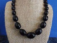 Vtg Crown Trifari Graduated Black Lucite Bead Gold Tone Single Strand Necklace | eBay