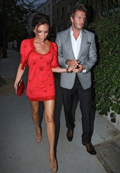 Victoria Beckham wearing Giles Dress, Christian Louboutin Loubis Clutch and Brian Atwood Resort 2011 Cork Slingback Pumps.