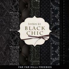 Far Far Hill: New Freebies Kit of Background - Black Chic