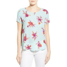Pleione Pleat Back Woven Print Top ($39) ❤ liked on Polyvore featuring tops, blouses, mint purple floral, petite, floral top, floral print top, mint blouse, blue blouse and petite blouses