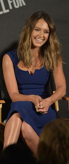 Who made  Jessica Alba's blue dress that she wore in Beverly Hills on August 2, 2014