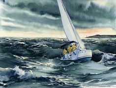 ROUGH RIDE, seascape watercolor by Thomas A Needham