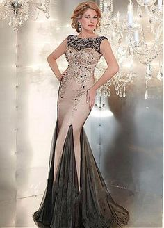 Marvelous Tulle Bateau Neckline Mermaid Evening Dresses with Beadings    Rhinestones Long Dresses b587d9eaec58
