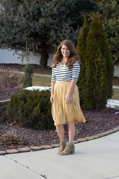 yellow lularoe madison skirt and striped top