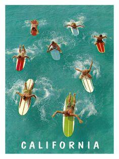 California Surfing  Giclee Print