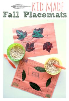 Kids can make their own fall placemats with leaves from the yard!